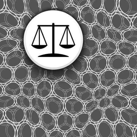 Black and white background with pattern and justice symbol Illustration
