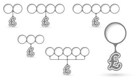 pound sterling: Conjunto de cinco áreas de texto con objeto circulares y símbolo de la libra esterlina