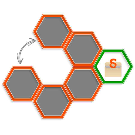 jury box: Six colored hexagons for your text and paragraph Illustration