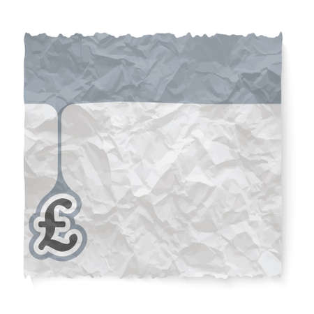 pound sterling: Crumpled paper for your text and pound sterling symbol Illustration
