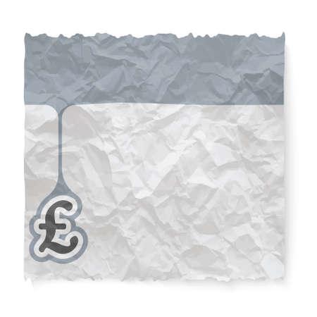 libra esterlina: El papel arrugado para el s�mbolo de texto y la libra esterlina