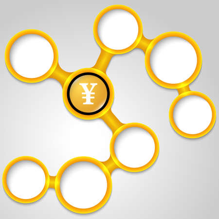 yen note: Vector yellow frames for your text and yen symbol