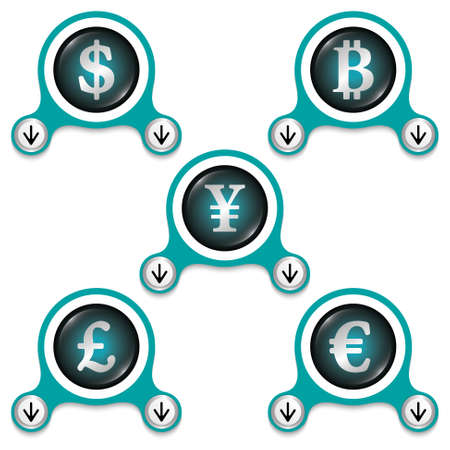 currencies: Green abstract icons and silver currencies symbols