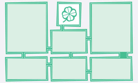 cloverleaf: Green abstract text boxes for your text and cloverleaf