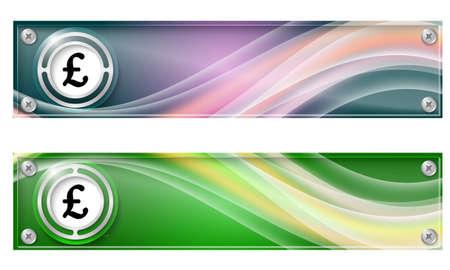 libra esterlina: Conjunto de dos banderas con el arco iris de colores y el símbolo de la libra esterlina