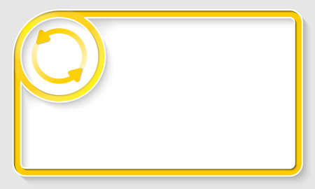 text frame: Yellow text frame and white circle box with arrows Illustration