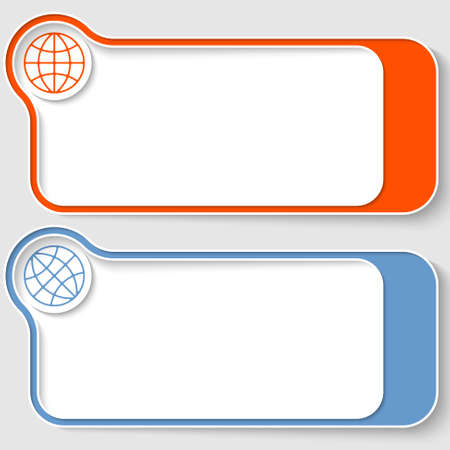 text boxes: Set of two vector text boxes with globe icon
