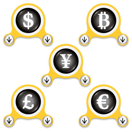 currencies: Yellow abstract icons and currencies symbols