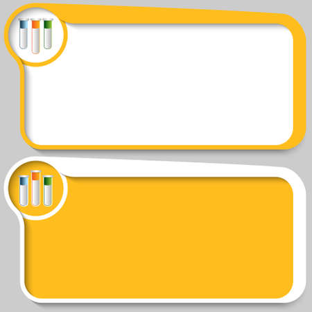 yellow vector: Two yellow vector text boxes and test tubes