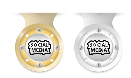 annular: Golden and silver object and social media headline Illustration