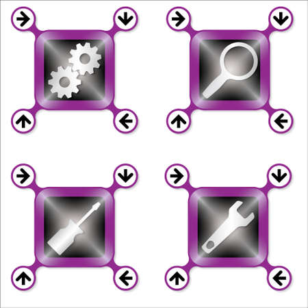 sprockets: Set of four icons with silver different tools