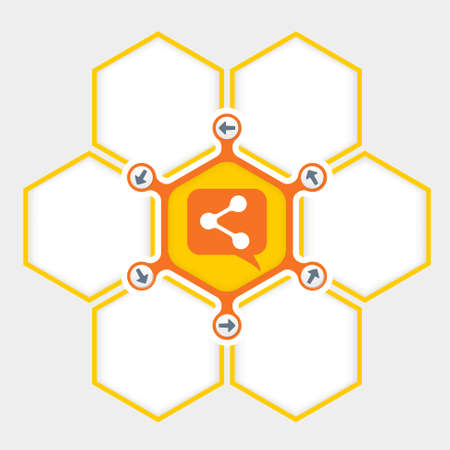 filling folder: Abstract hexagons for your text and share icon