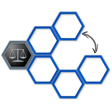 jury box: Vector hexagons for your text and justice symbol Illustration