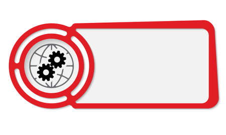 global settings: Abstract frame for your text and globe icon and cogwheels
