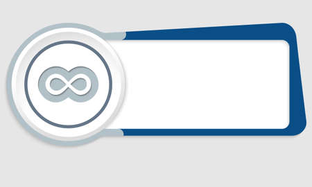 gray strip backdrop: abstract button for your text and infinity symbol