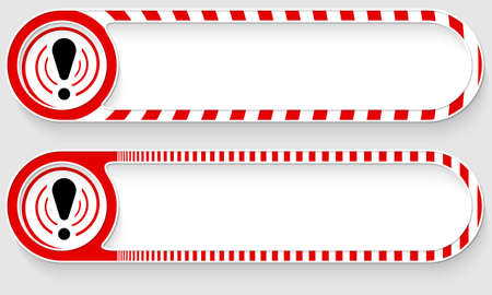 Striped buttons for your text and exclamation mark Vettoriali