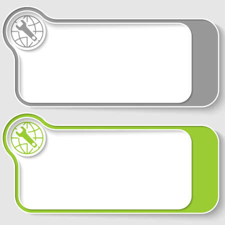 map toolkit: Two vector text boxes for your text and globe and spanner icon