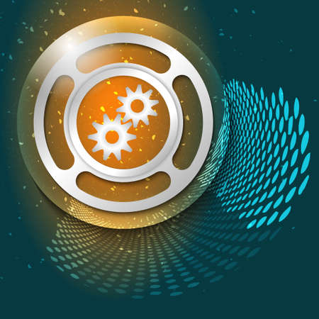 sprockets: Vector abstract background and silver object with cogwheels