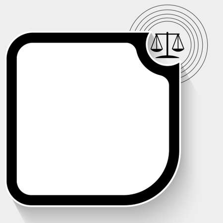 Black text box for your text and justice symbol
