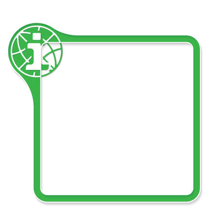 Green frame for your text and info symbol