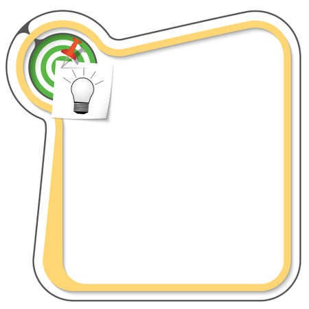 tack: Yellow frame for your text with the tack, target and bulb