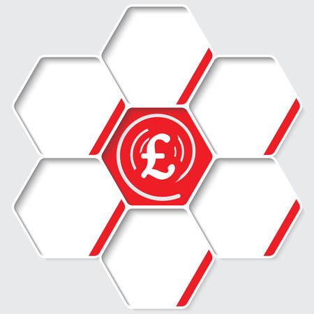 pound sterling: Conjunto de cinco hexágonos de su texto y un símbolo de la libra esterlina Vectores
