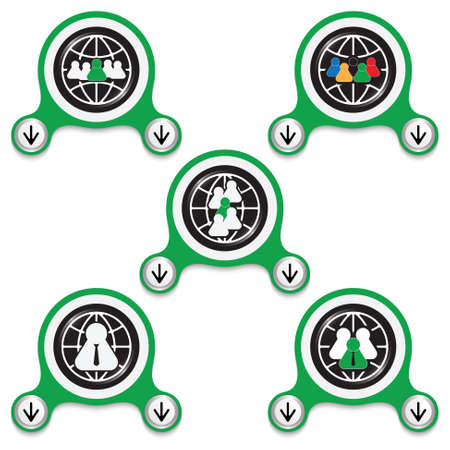 peoples: Green abstract icons and different peoples symbols