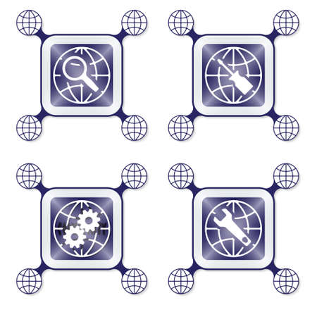 four objects: Four objects with globe icon and different tools Illustration