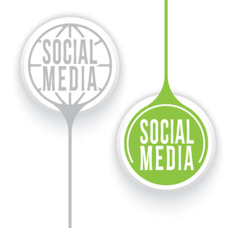 two objects: Two vector objects and globe symbol and social media icon