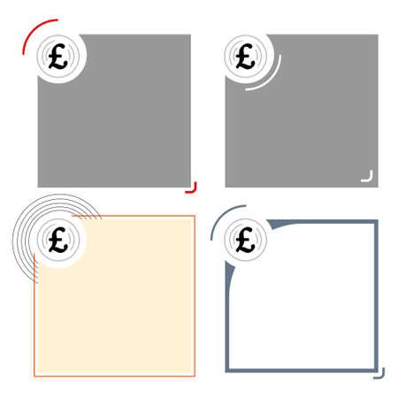 pound sterling: Cuatro marcos de texto diferentes para su símbolo de texto y la libra esterlina Vectores