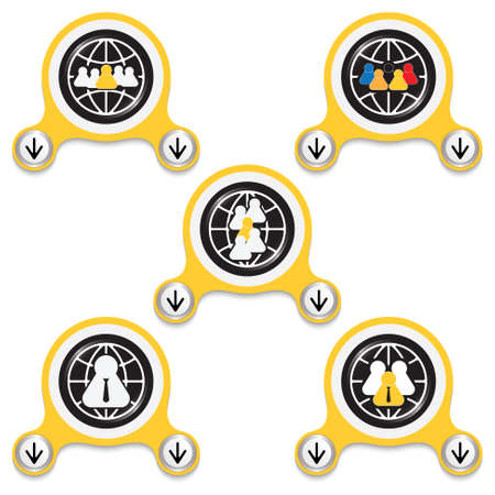 peoples: Yellow abstract icons and different peoples symbols Illustration