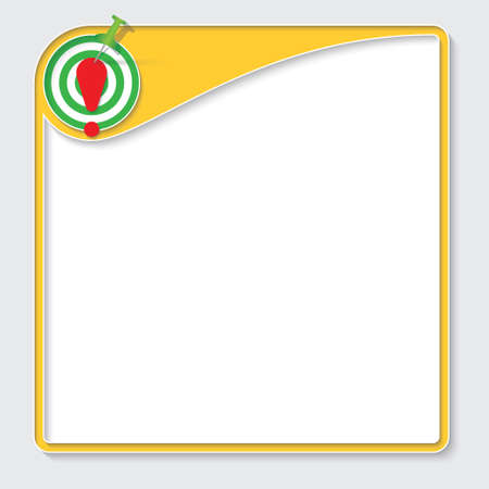 signo de exclamacion: Yellow box for your text with target and exclamation mark Vectores