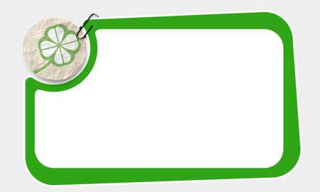 cloverleaf: Frame and crumpled slip of paper and cloverleaf