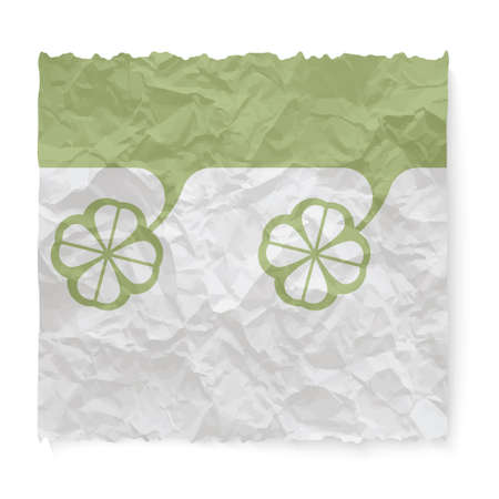 clovers: Crumpled paper for your text and clovers Illustration