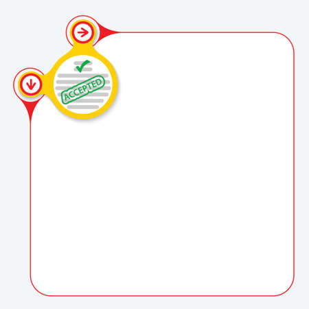 questionnaire: Red frame for your text and yellow circle with questionnaire