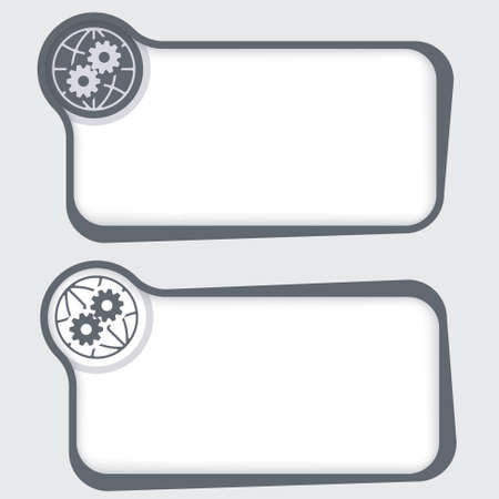 sprockets: Set of two vector text frames and globe icon and cogwheels Illustration