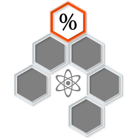 inscribe: Six colored hexagons for your text and percent symbol