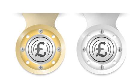 pound sterling: objetos de oro y plata y el icono de la libra esterlina