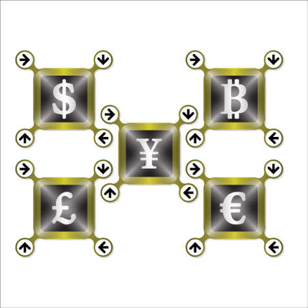 currencies: Set of four icons with silver different currencies Illustration