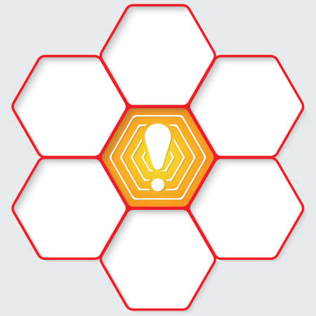 intermission: Set of five hexagons for your text and a exclamation mark Illustration