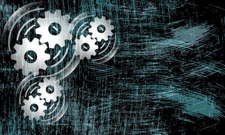 cogwheels: Vector abstract scratched background and cogwheels
