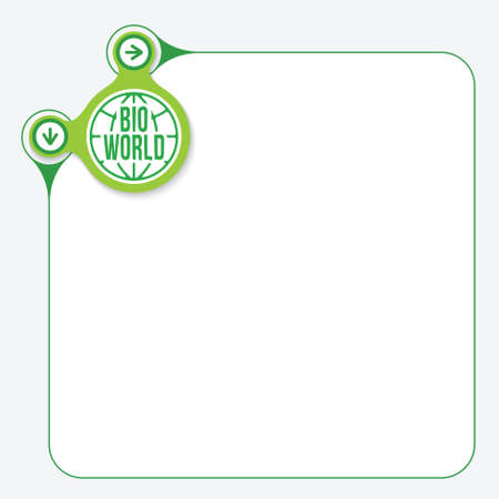 fill in: Green frame for your text and yellow circle with bio symbol Illustration