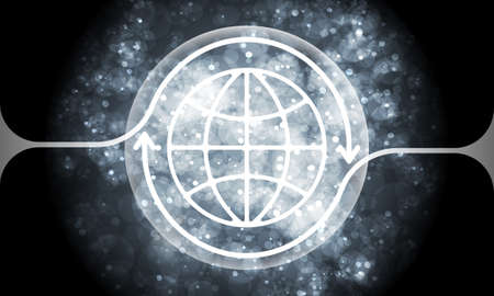 transparent globe: Futuristic colored abstract background and transparent globe symbol Illustration