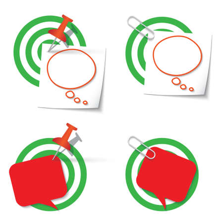 paper  clip: Four targets and thumbtack and paper clip Illustration