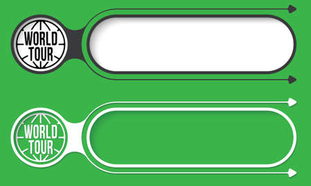 fill in: Two abstract buttons with arrows and globe icon