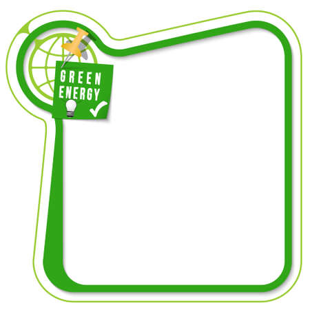 tack: Green frame for your text with the tack, target and green energy symbol Illustration