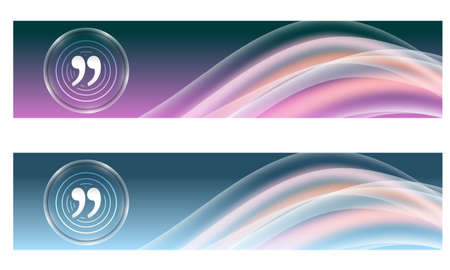 quotation: Set of two banners with colored rainbow and quotation mark