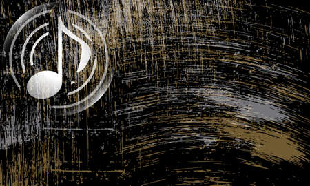 abstract music: abstract scratched background and music symbol