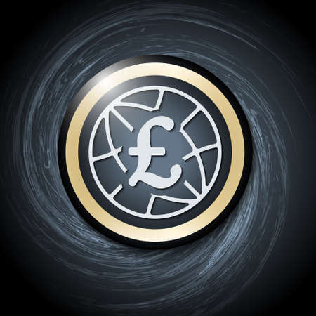 pound sterling: Dark background with abstract spirals and pound sterling icon Illustration