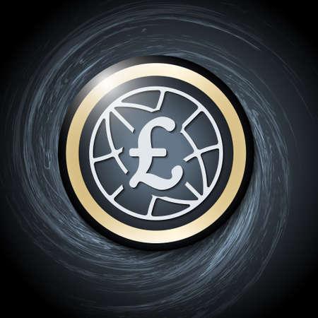 libra esterlina: Fondo oscuro con espirales abstractas y icono de la libra esterlina